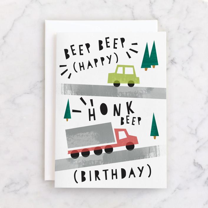 """Beep Beep Honk!"" - Individual Kid's Birthday Greeting Cards in Gravel by Shiny Penny Studio."