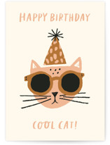 This is a yellow birthday cards for kid by Jen B. Peters called Cool Cat with standard printing on signature in greeting cards.