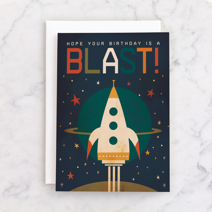 """""""Birthday Blast!"""" - Individual Kid's Birthday Greeting Cards in Space by Laura Mitchell."""