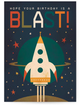 This is a blue birthday cards for kid by Laura Mitchell called Birthday Blast! with standard printing on signature in greeting cards.