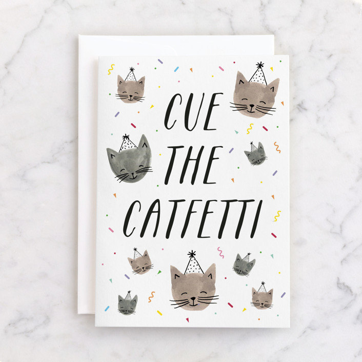 """Catfetti"" - Individual Kid's Birthday Greeting Cards in Tawny by Olivia Raufman."