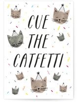 This is a beige birthday cards for kid by Olivia Raufman called Catfetti with standard printing on signature in greeting cards.