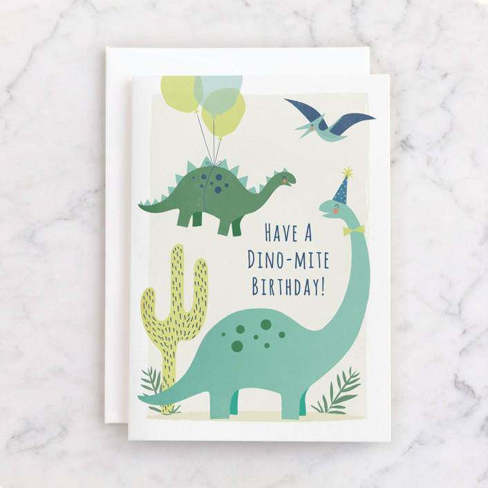 """""""dinomite dinosaurs"""" - Individual Kid's Birthday Greeting Cards in Mint by Karidy Walker."""