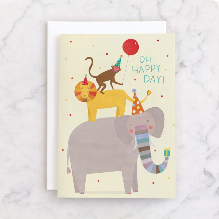"""""""Oh Happy Day Animals"""" - Individual Kid's Birthday Greeting Cards in Sandy by melanie mikecz."""