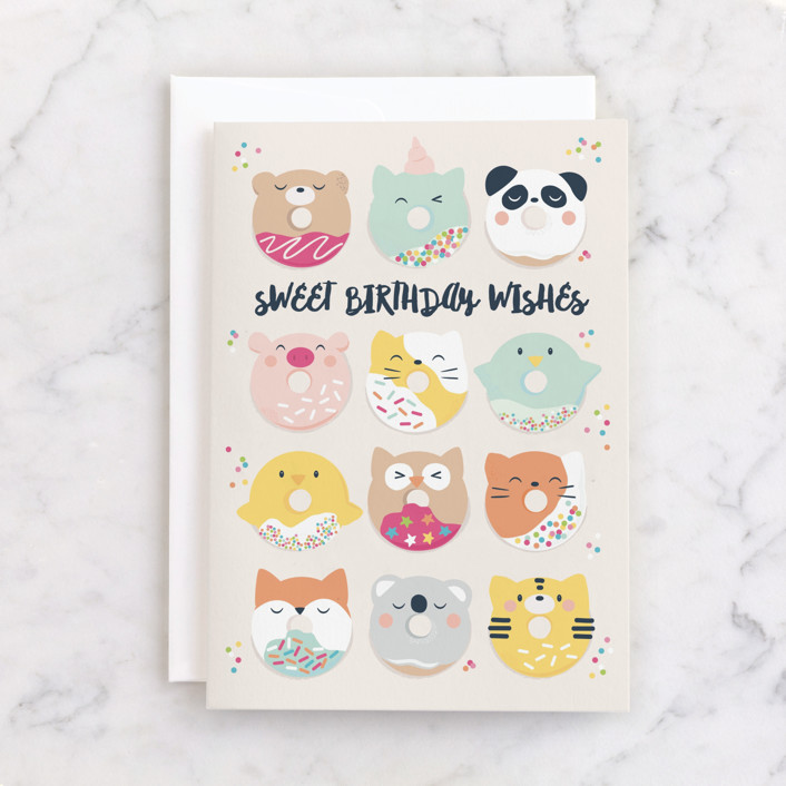 """""""sweet donut faces"""" - Individual Kid's Birthday Greeting Cards in Candy by peetie design."""