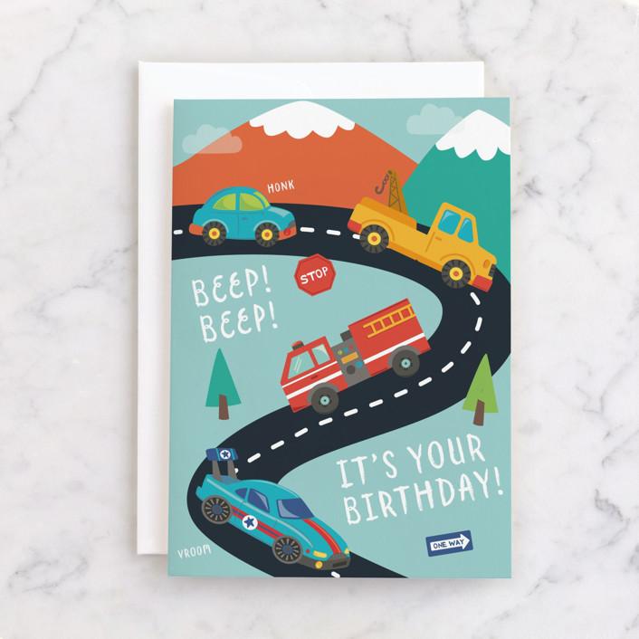 """Vroom"" - Individual Kid's Birthday Greeting Cards in Evergreen by peetie design."