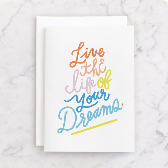 """Dream On"" - Individual Kid's Birthday Greeting Cards in Rainbow by Marabou Design."