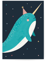 This is a blue birthday cards for kid by Marina Onoprienko called Magic Narwhal with standard printing on signature in greeting cards.