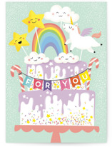 This is a blue birthday cards for kid by Helen Halik called Magic cake with standard printing on signature in greeting cards.
