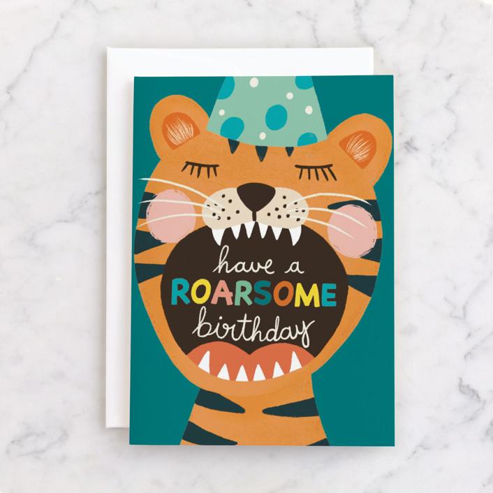 """Wild Birthday"" - Individual Kid's Birthday Greeting Cards in Honey by Juliana Zimmermann."