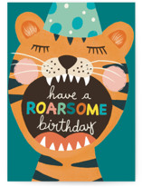 This is a orange birthday cards for kid by Juliana Zimmermann called Wild Birthday with standard printing on signature in greeting cards.