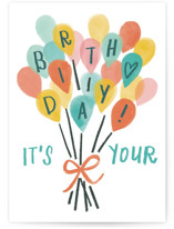 This is a green birthday cards for kid by Rebecca Daublin called Balloon Bouquet with standard printing on signature in greeting cards.