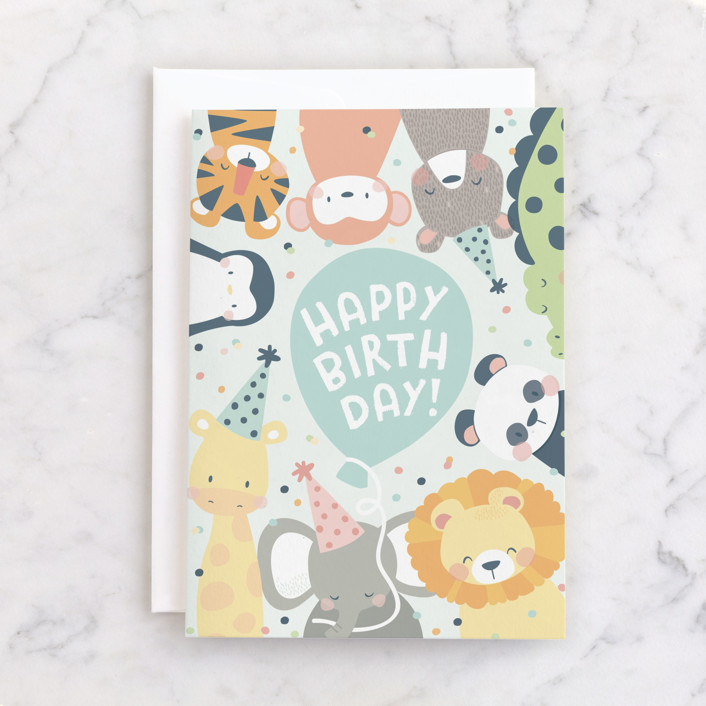 """""""sweet party animals"""" - Individual Kid's Birthday Greeting Cards in Baby Blue by peetie design."""