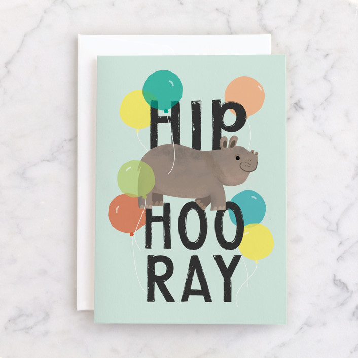 """Hip HIPPO Hooray!"" - Individual Kid's Birthday Greeting Cards in Mint by Itsy Belle Studio."