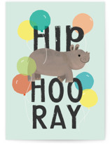 This is a green birthday cards for kid by Itsy Belle Studio called Hip HIPPO Hooray! with standard printing on signature in greeting cards.