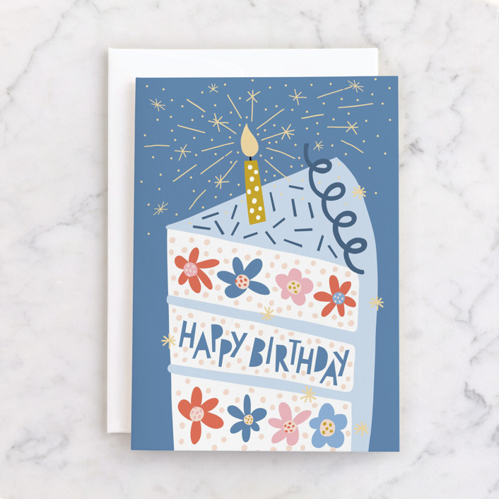"""""""Floral Birthday Cake"""" - Individual Kid's Birthday Greeting Cards in Sky by Pace Creative Design Studio."""