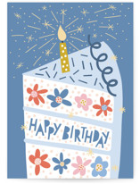 This is a blue birthday cards for kid by Pace Creative Design Studio called Floral Birthday Cake with standard printing on signature in greeting cards.