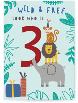 This is a blue birthday cards for kid by Teju Reval called Look who is 3 with standard printing on signature in greeting cards.