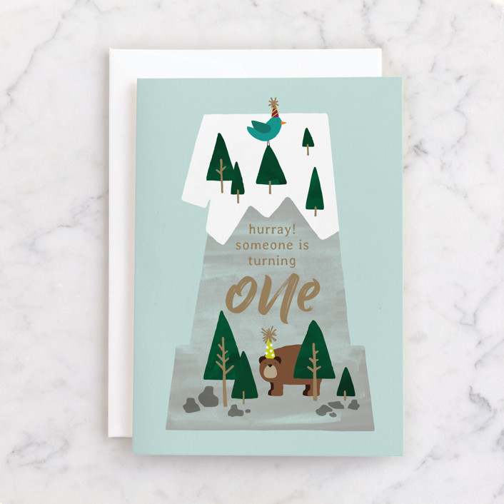 """""""One Mountain"""" - Individual Kid's Birthday Greeting Cards in Mint by JeAnna Casper."""