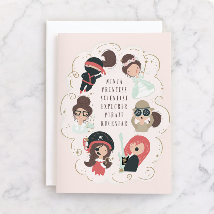"""""""Boundless Love"""" - Individual Kid's Birthday Greeting Cards in Beige by Itsy Belle Studio."""