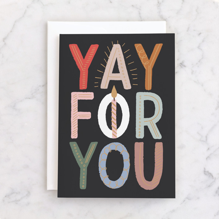 """""""Yay for you!"""" - Individual Kid's Birthday Greeting Cards in Ink by Alethea and Ruth."""