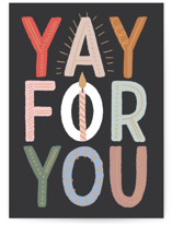 This is a black birthday cards for kid by Alethea and Ruth called Yay for you! with standard printing on signature in greeting cards.