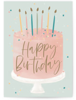 This is a blue birthday cards for kid by Faith Dorn called Confetti Cake with standard printing on signature in greeting cards.