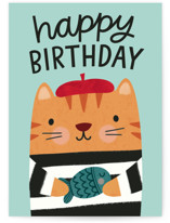 This is a green birthday cards for kid by Kristen Magee called Beret Birthday with standard printing on signature in greeting cards.