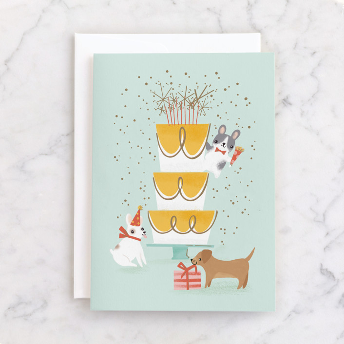 """""""Pup Pawty"""" - Individual Kid's Birthday Greeting Cards in Mint by Itsy Belle Studio."""