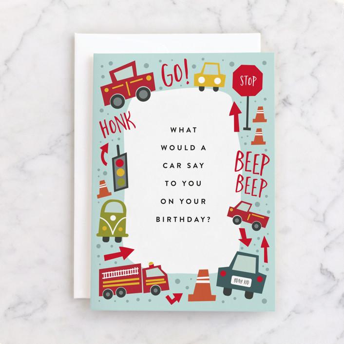 """Wheelie Great"" - Individual Kid's Birthday Greeting Cards in Aqua by Amy Payne."