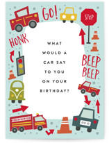 This is a blue birthday cards for kid by Amy Payne called Wheelie Great with standard printing on signature in greeting cards.