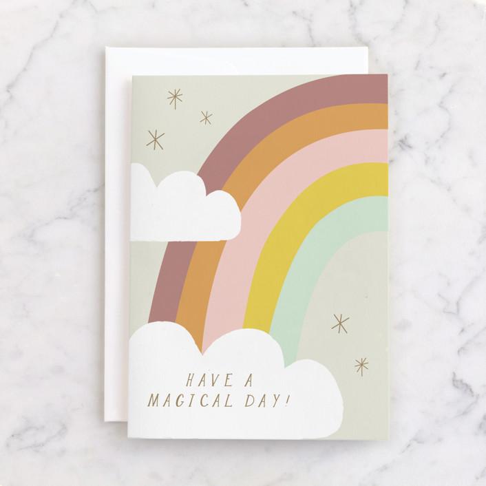 """Rainbow Magic"" - Individual Kid's Birthday Greeting Cards in Mist by Angela Thompson."
