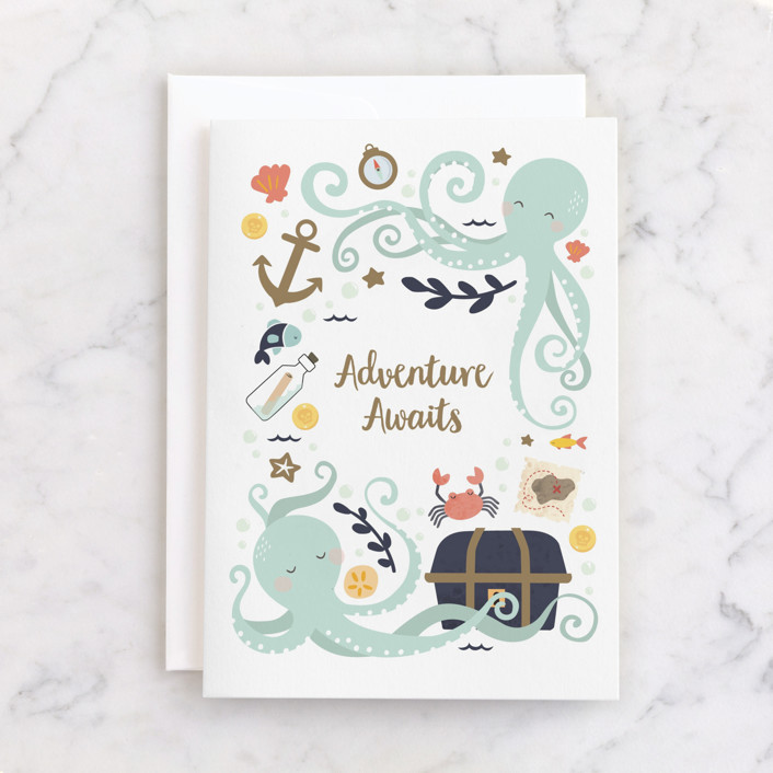 """little treasure"" - Individual Kid's Birthday Greeting Cards in Aqua by peetie design."