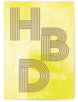 This is a yellow birthday cards for kid by Anna Elder called HBD with standard printing on signature in greeting cards.