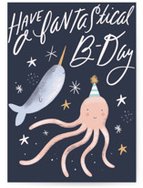 This is a blue birthday cards for kid by Hannah Williams called Magical Sea with standard printing on signature in greeting cards.