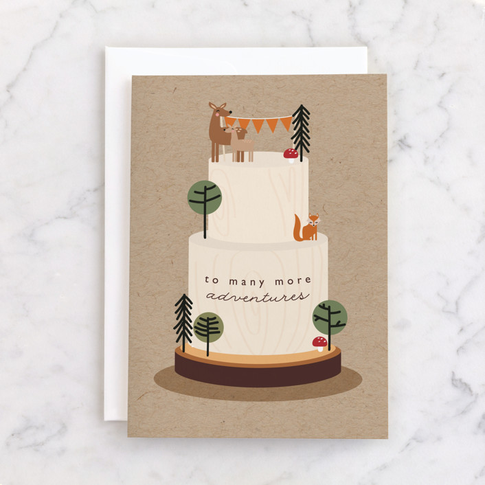 """""""Adventures"""" - Individual Kid's Birthday Greeting Cards in Kraft by Caitlin Considine."""