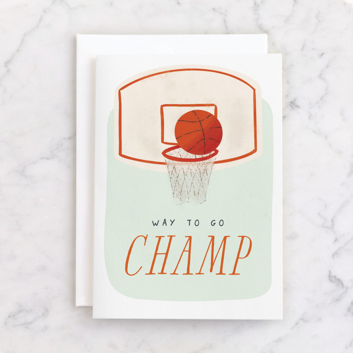 """""""Birthday Champ"""" - Individual Kid's Birthday Greeting Cards in Mint by Gwen Bedat."""