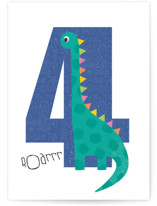 This is a blue birthday cards for kid by Farinaz Vaseghi called Dinosaur with standard printing on signature in greeting cards.