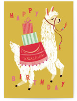 This is a yellow birthday cards for kid by Olivia Kanaley Inman called A Whole Llama Fun with standard printing on signature in greeting cards.