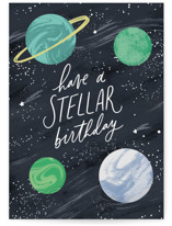 This is a black birthday cards for kid by Everett Paper Goods called Stellar with standard printing on signature in greeting cards.