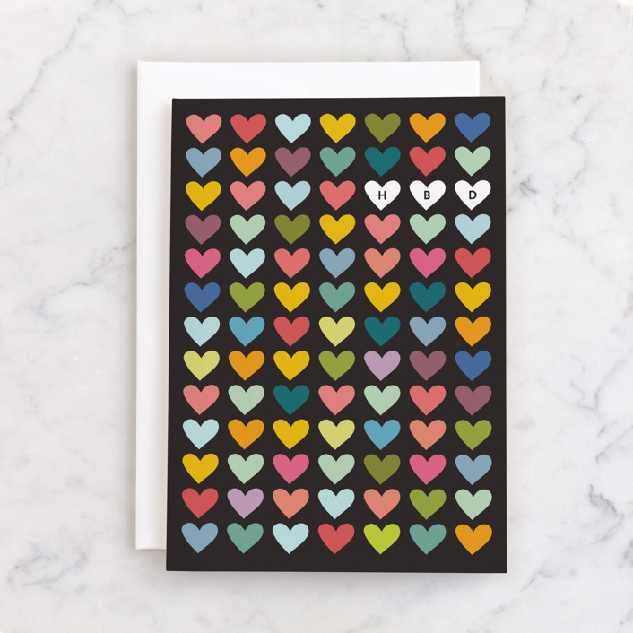 """""""HBD Hearts"""" - Individual Kid's Birthday Greeting Cards in Midnight by Amy Payne."""