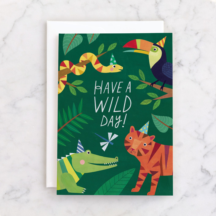 """""""Wild Day"""" - Individual Kid's Birthday Greeting Cards in Forest by melanie mikecz."""