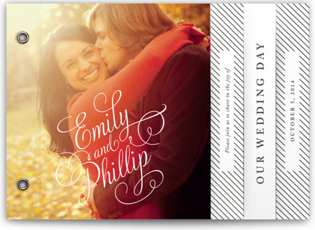 This is a landscape bold typographic, classical, elegant, black Wedding Invitations by Alston Wise called Hold the Date with Standard printing on Signature Cover in Minibook™ Card Created for you by Minted's global community of designers, our exclusive Minibook