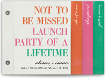 This is a pink wedding invitation minibook card by hi-lighter inc. called Launch Party of a Lifetime with standard printing on strathmore in minibook.