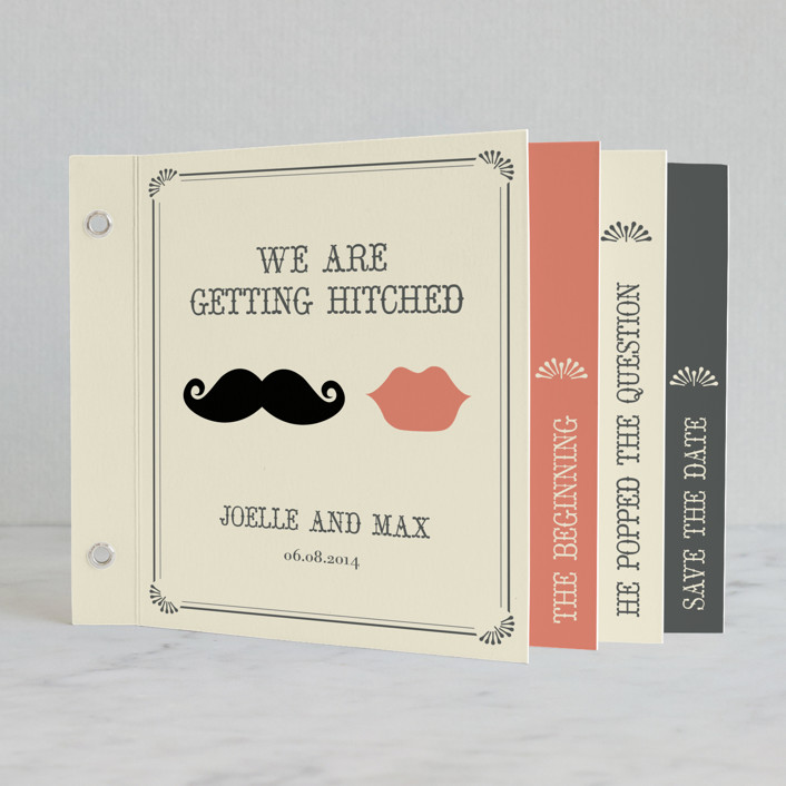 """Stache + Kiss"" - Vintage, Whimsical & Funny Minibook Wedding Invitations in Cream by Penelope Poppy."