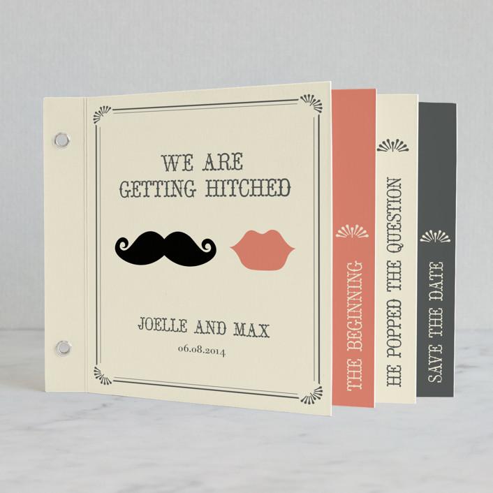Interesting Wedding Invitation Wording: Stache + Kiss Minibook Wedding Invitations By Penelope