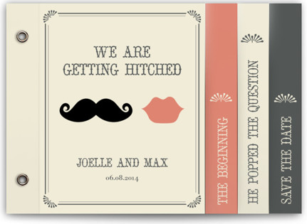 photo of Stache + Kiss Wedding Invitation Minibooks