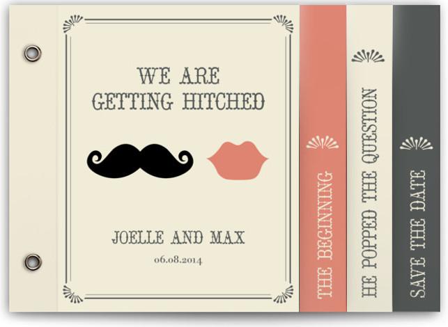Stache + Kiss Wedding Invitation Minibooks