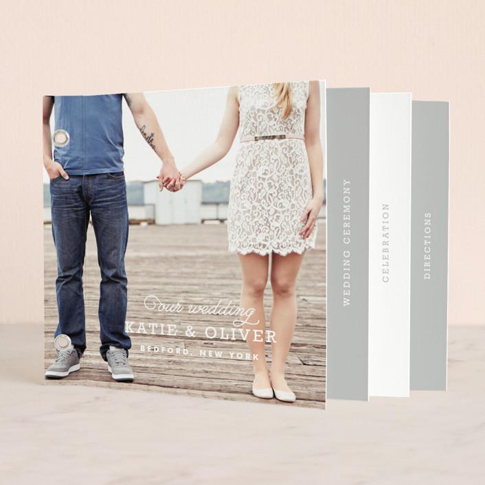 """Timeless"" - Classical, Simple Minibook Wedding Invitations in Heather Grey by Oscar & Emma."