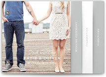 This is a grey wedding invitation minibook card by Oscar & Emma called Timeless with standard printing on strathmore in minibook.